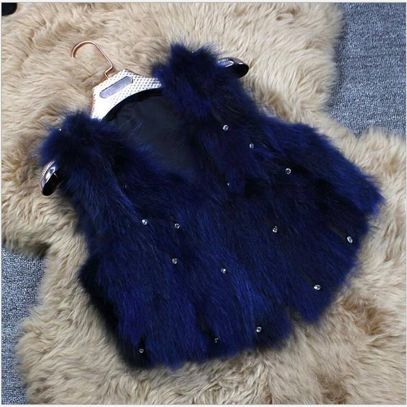 Fashion 2016 Children's Real Raccoon Fur Vest Autumn and Winter Baby Girls Warm Thick Short Section Raccoon Fur Outerwear coat new 2016 fashion children rabbit fur coat autumn and winter baby girls short warm thick fur outerwear jacket clothing baby coat