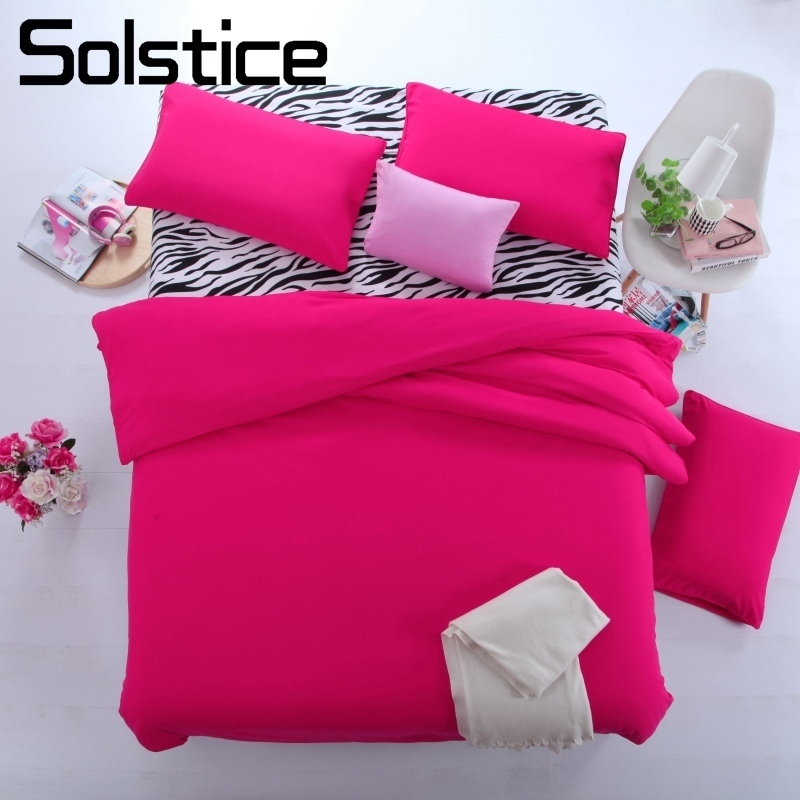 Solstice Home Textile Zebra Stripe Solid Rose Red Bedding Set Teen Adult Girls Woman Linen Duvet Cover Pillowcase Bed Flat Sheet