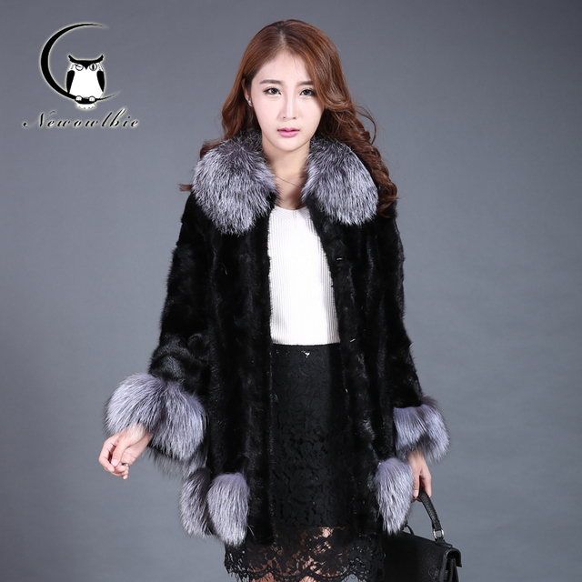 2016 autumn and winter new mink plus fox fur collar long section of Ms. jacket casual clothes