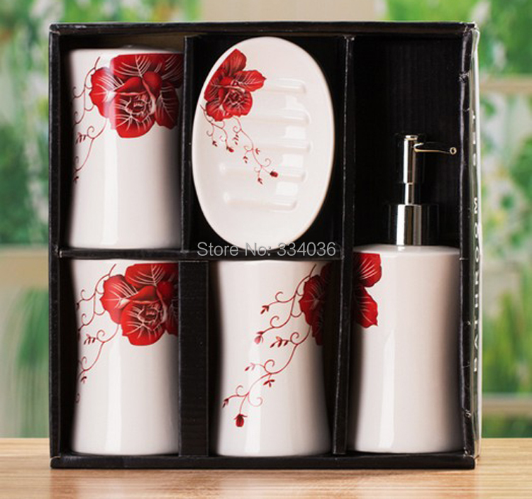 Free Shipping Fashion Red Rose Shaped Pattern White Ceramic Bathroom