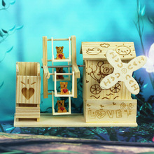 1PC Small White Duck Music Box Exquisite Wooden Crafts Boutique Korean Windmill Gift Ornaments KU 039