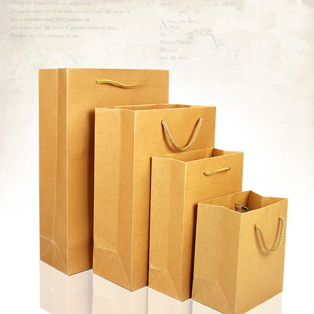 Paper bag yellow - 13 15 8cm Brown Kraft Paper Shopping Bag With Handle Party Gift Cosmetic Perfume