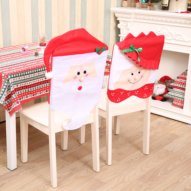 Merry Christmas Chair Cover Table Decor Gifts Santa Claus Cap New Year Ornaments Christmas Party Supplies #252403