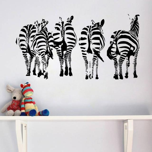 Large size ZOO animals ZEBRA 3D diy PVC wall stickers kids room ...