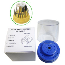 60 Holes Dental Burs Holder Block Station with Heightened Cover Autoclavable Round Blue 142 holes dental burs bur block holder holds holder station pull out drawer set lnb