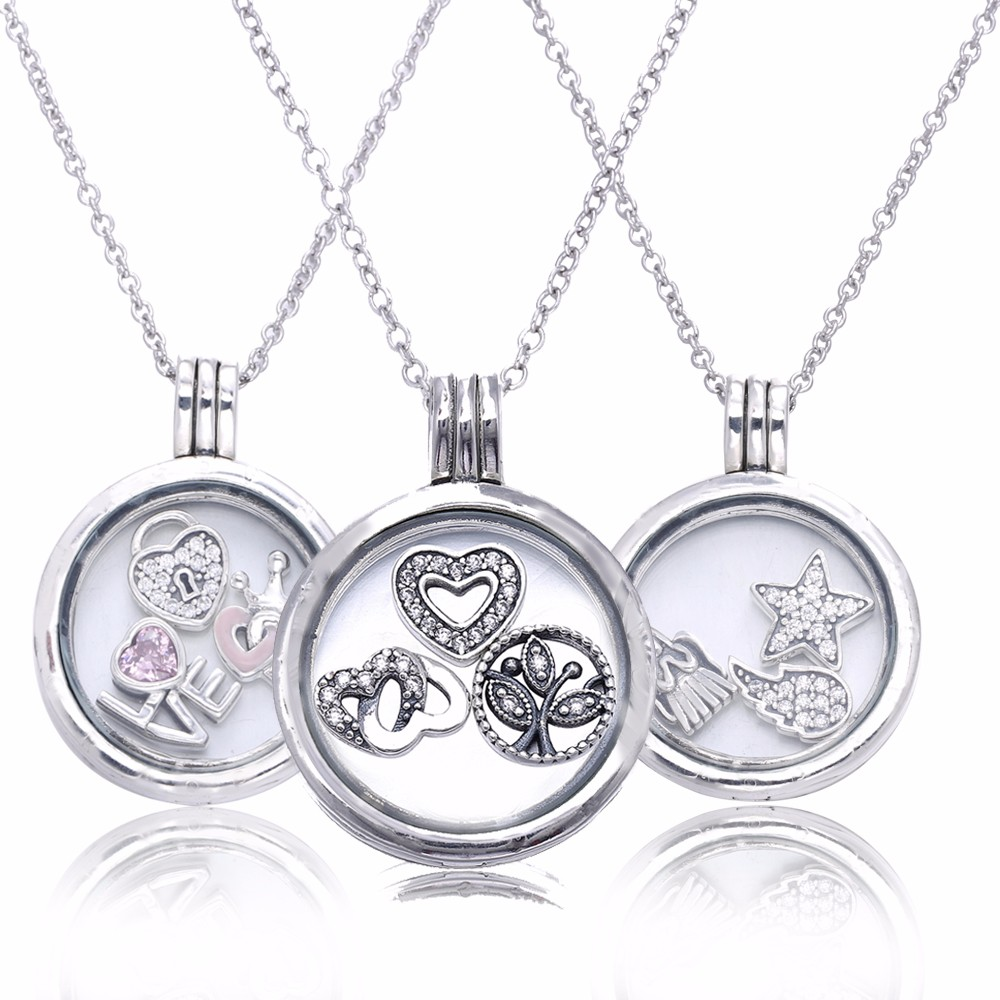Pandulaso Large Round Glass Floating Locket Necklaces for Women Fashion Silver 925 Jewelry Chain Necklaces Pendants