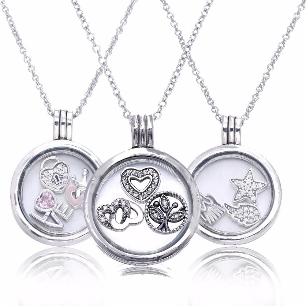 Pandulaso Grand Ronde En Verre Flottant Médaillon Colliers pour Femmes Mode Argent 925 Bijoux colliers de chaîne et Pendentifs 3 Petites