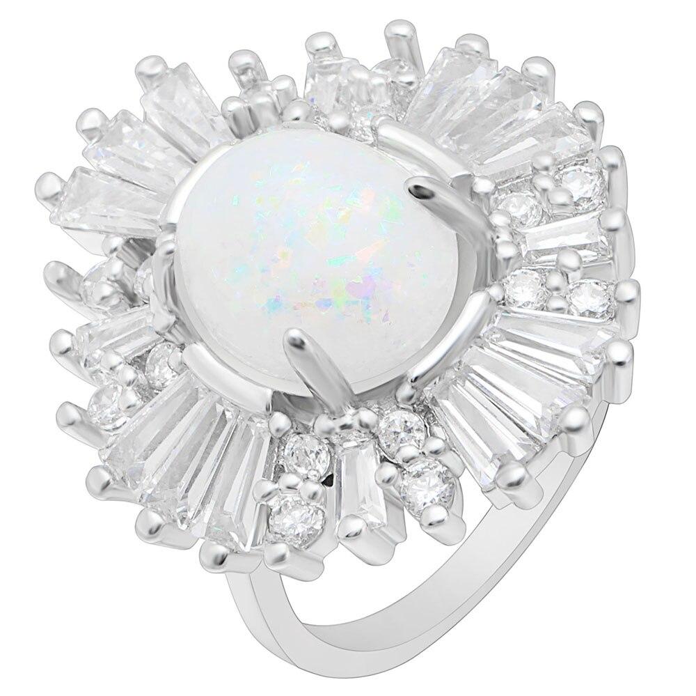 Hainon серебряный цвет обручальные кольца ювелирные изделия овальной огненный опал кольца с кубического циркона Кристалл Люкс обручальные об...