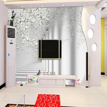 цены Living room cherry blossom 3D TV background wall professional production mural wallpaper custom poster photo wall