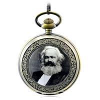 Great Man Marx Antique Skeleton Mechanical Hand Wind Pocket Fob Watches Men Women's Watch Pendant Necklace Retro Souvenir Gift