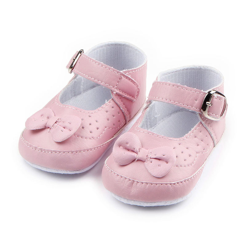 Cute Sweet Soild Butterfly-knot Soft Sole Buckle Strap Infant Newborn Baby Girl Shoes Princess Shoes First walker