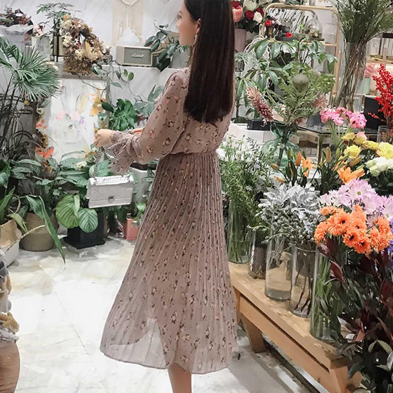 BGTEEVER винтажное женское платье с бантом и стоячим воротником с цветочным принтом Плиссированное женское шифоновое платье с расклешенными рукавами 2019 женское миди Vestidos