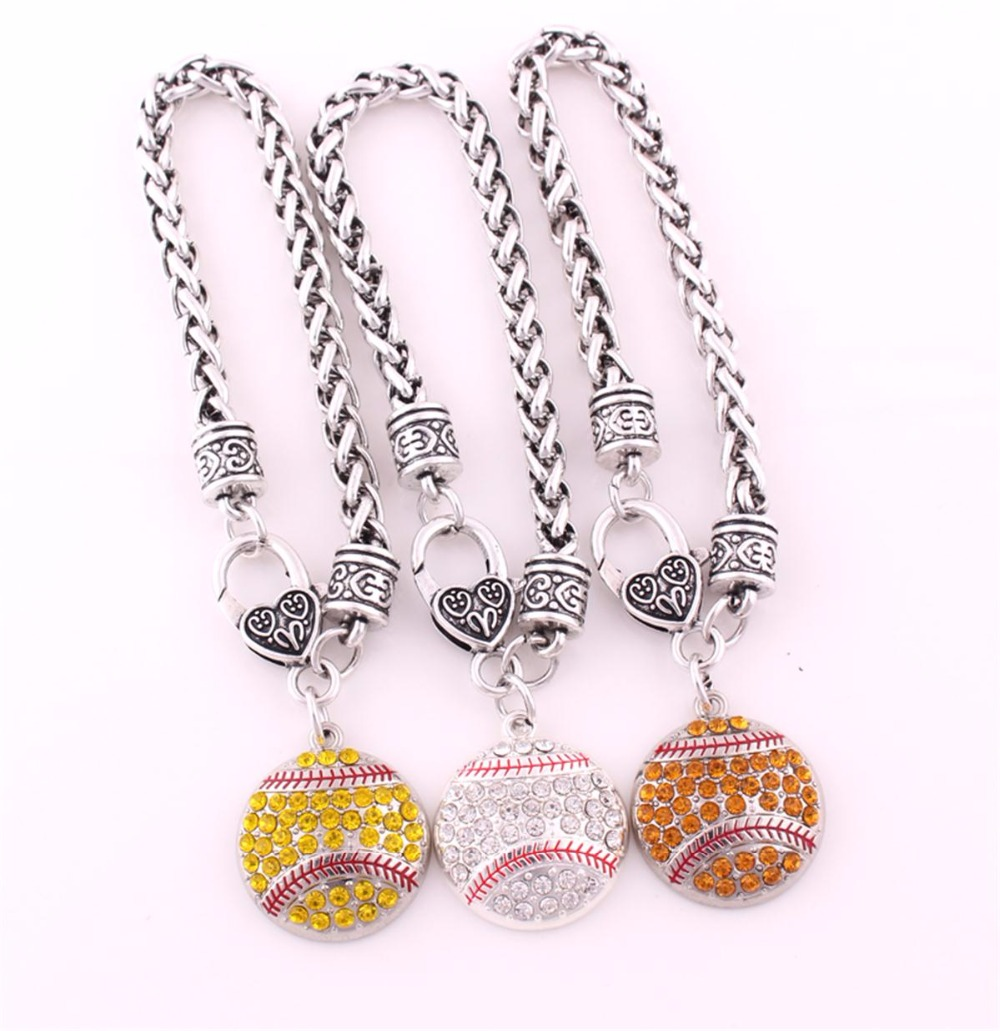 Antique Sliver Plated Zinc Studded With Sparkling Crystal Baseball Or Softball Pendant Charm Bracelet Sporty Charm
