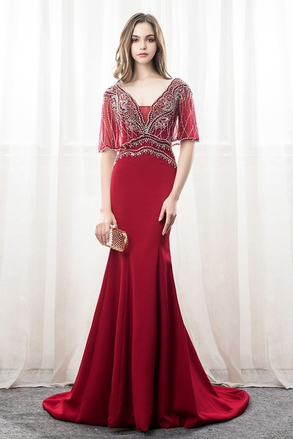 Luxury Burgundy Satin Crystal Beading Vestidos De Festa Backless Mermaid Formal Long Evening Dresses With Jacket Prom Party Gown