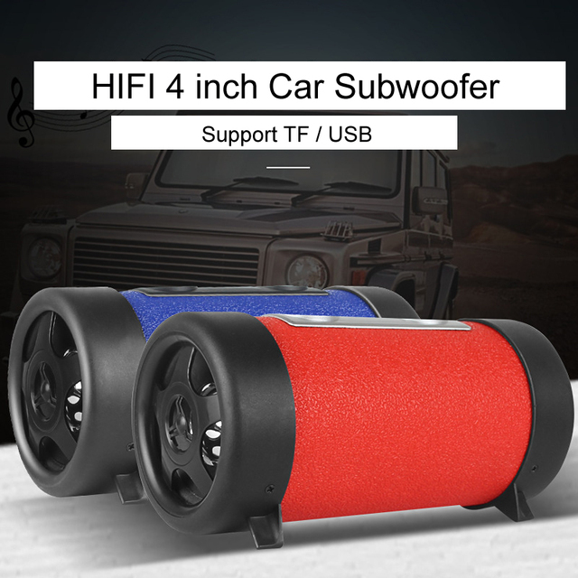 4 inch Car Subwoofer Speaker Audio HiFi Car Motorcycle Auto Truck Sub Bass woofer Round Audio Boxes for Phone TF USB Support