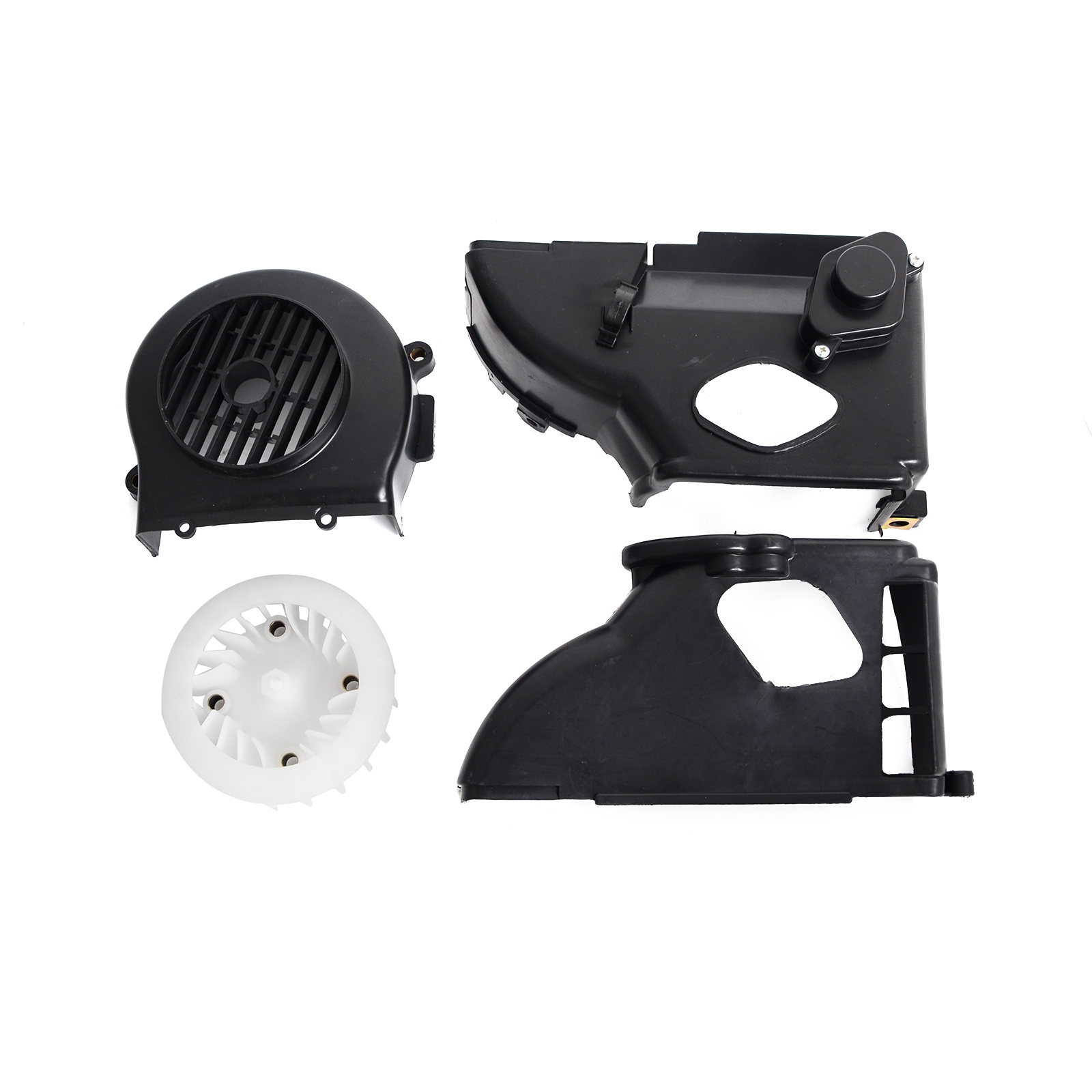 Cooling fan cover with upper and lower shroud for scooters with 50cc motors
