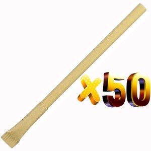 Image 1 - הרבה 50 יחידות Eco רזה נייר כדור עט, ידידותי לסביבה, הוגן לפרסם כדורי, מותאם אישית קידום החברה טקסט & לוגו מתנה