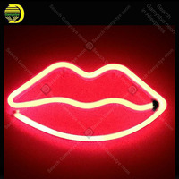 Lips LED Neon Sign Night Lights Unique Design Light Wall Decor Lamp A Toy For Christmas Wedding Party Kids BedRoom Real Glass