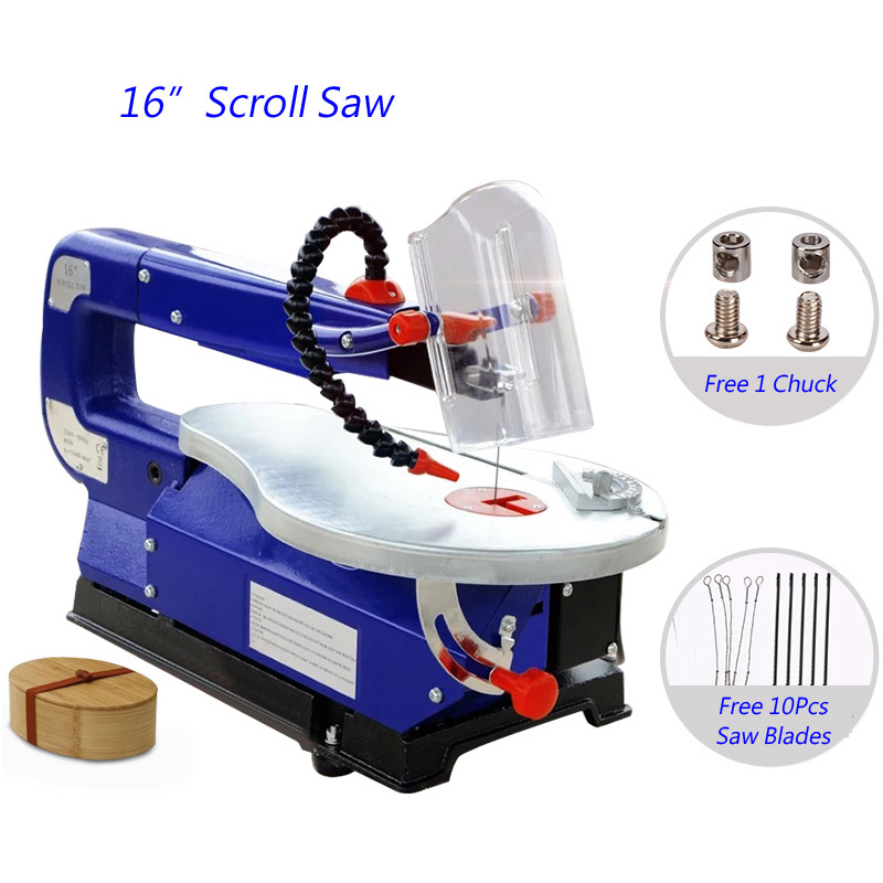 Electric Saw 16 Jig Saw 85W DIY Scroll Saw For Wood Cutting Depth 50mm Wood Saw (Free 10Pc Saw Blades. 220/230V. English Manual tasp 12pcs 4 105mm pinned scroll saw blades for woodworking wood sawing