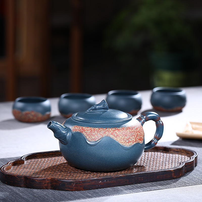 Agent for Orthodox Black-green Mud-step Lotus Set of Purple Sand Pot, One Pot, Four Cups of Teaware and GiftsAgent for Orthodox Black-green Mud-step Lotus Set of Purple Sand Pot, One Pot, Four Cups of Teaware and Gifts