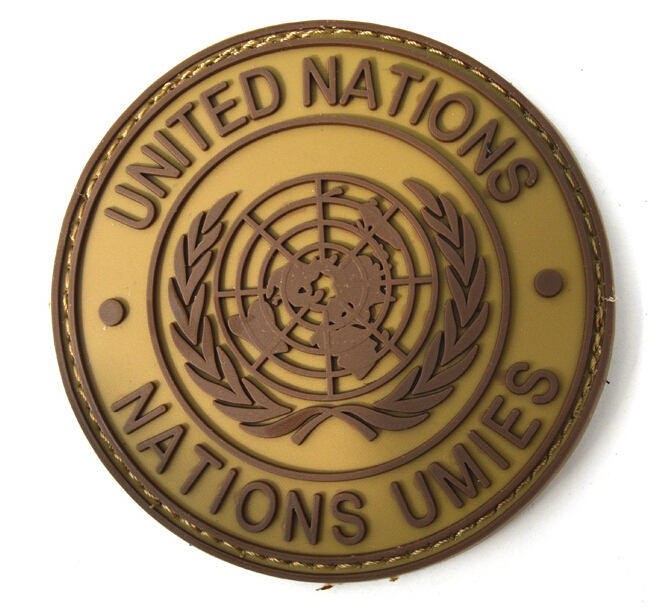Outdoor UNITED NATIONS NATIONS UMIES UN Flag PVC Patch Round Tactical Hook And Loop Armband Badge Coyote Brown Color Freeship