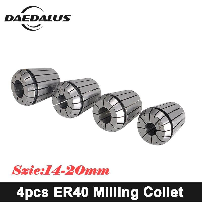 CNC Spindle Motor Collet ER40 Collet Chuck 4PCS 14mm/20mm Milling Router Collet Set Boring Tool For Milling Engraving Machine