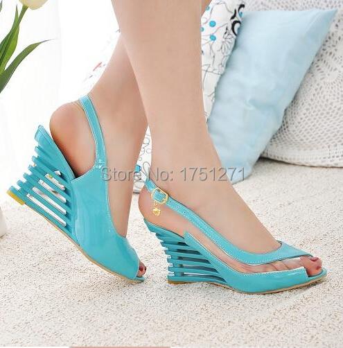 Women Wedge Heel Sandals Ankle Strap