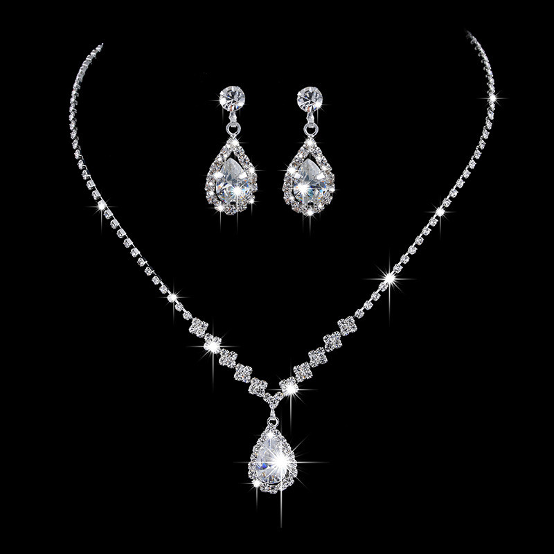 Jewelry-Set Necklace Chain Zircon-Stone Crystal 925-Silver White Cute Valentine's-Day-Gifts