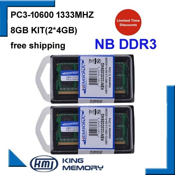 KEMBONA Ordinateur Portable Memoria RAM DDR3 8 GB KIT (2*4 GB) 1333 MHz 204-pin SODIMM Pour Intel et pour AMD Portable KBA Garantie À Vie
