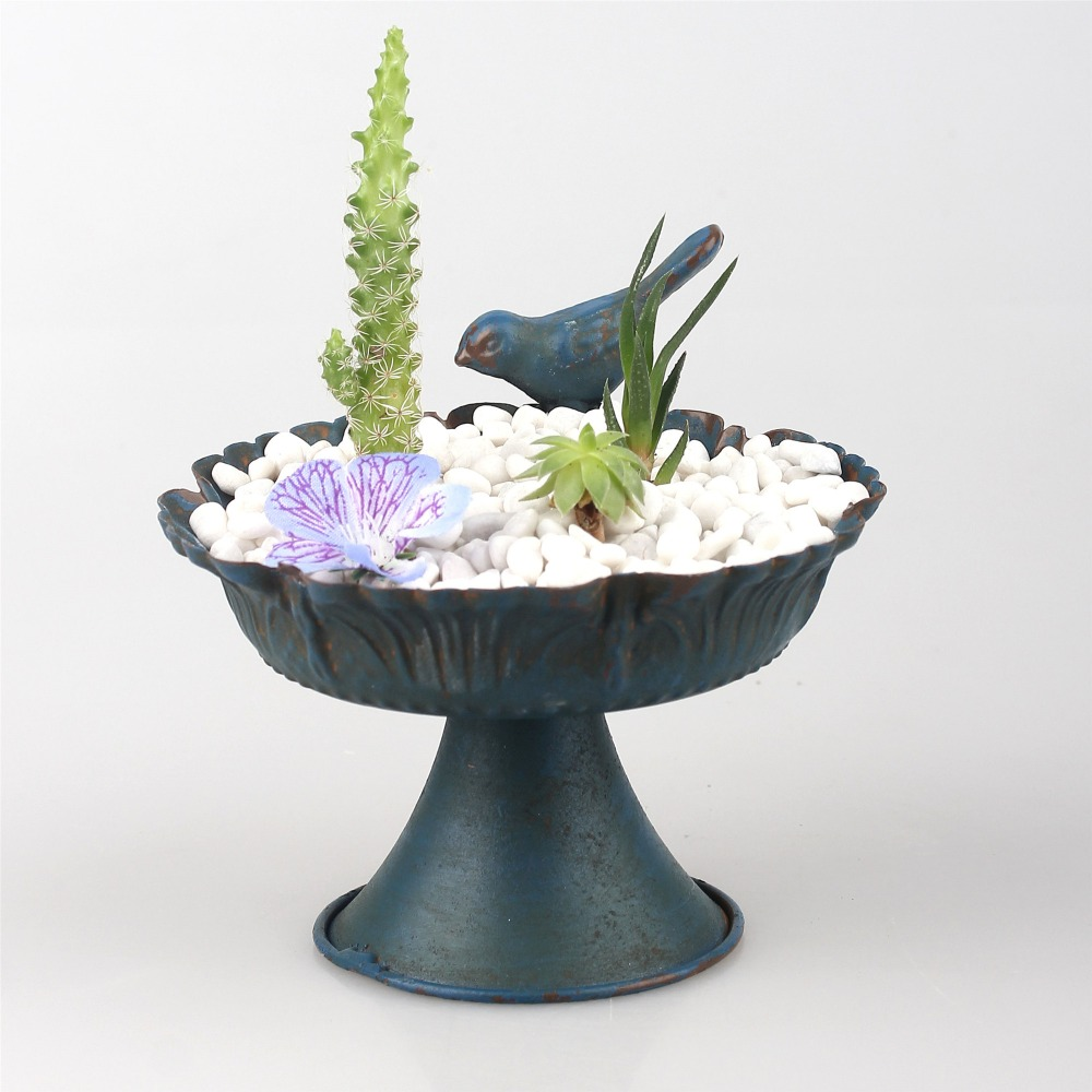Baroque Style Blue Bird Succulent Plants Flower Pot Wrought Iron Plant Pot Holders Home Garden Decoration Mini Metal Planter