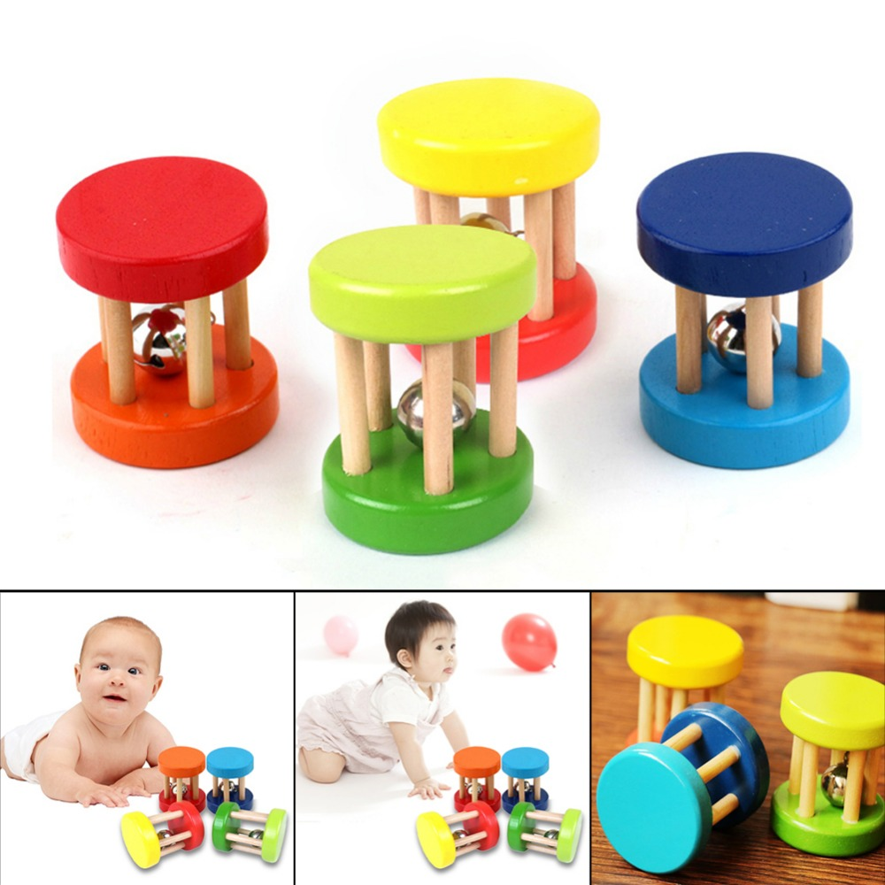 Colorful Wooden Toy Kid Baby Rattle Toys Ring Bell Children Intellectual Developmental Educational Handbell for Babies Random random delivery baby funny wooden toys developmental dancing standing rocking giraffe animal handcrafted toys