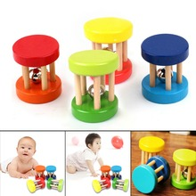 Colorful Wooden Toy Kid Baby Rattle Toys Ring Bell Children Intellectual Developmental Educational Handbell for Babies