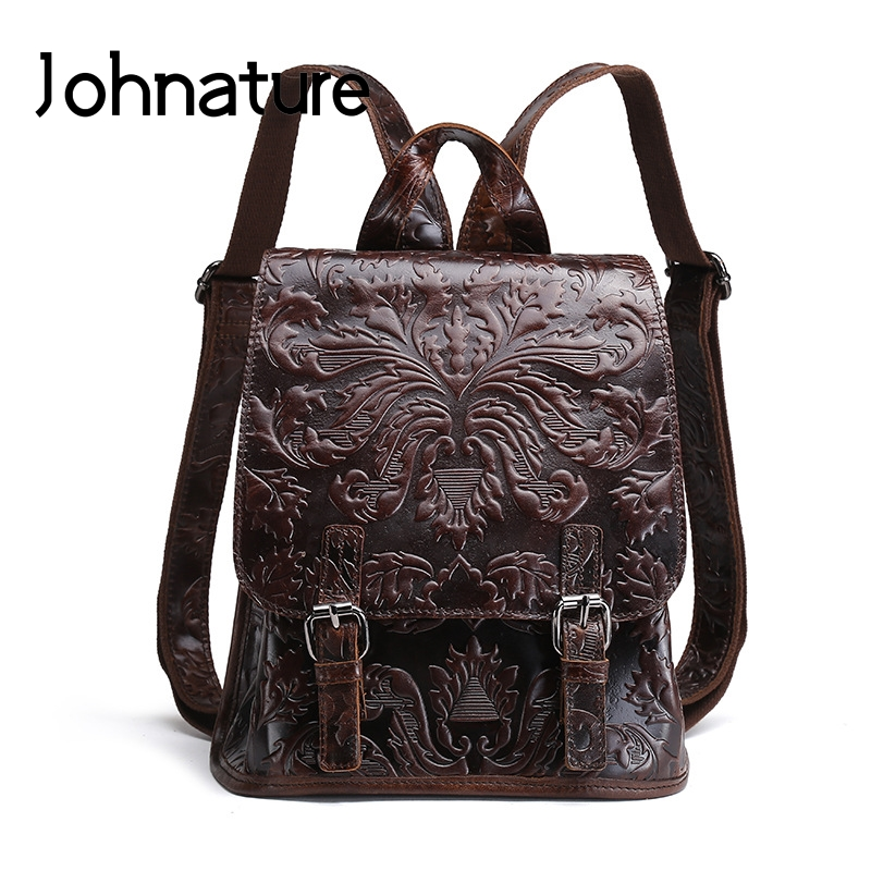 Johnature 2019 New Handmade Embossed Genuine Leather Soft Handle Arcuate Shoulder Strap Vintage Casual Women Backpack Travel