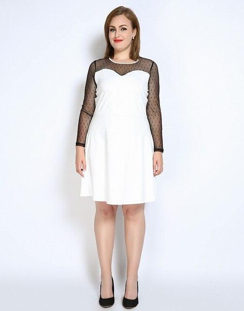 c492c6767da Новинка 2017 года шить с длинным рукавом платье линии сетки в горошек  лоскутное осенние платья Плюс