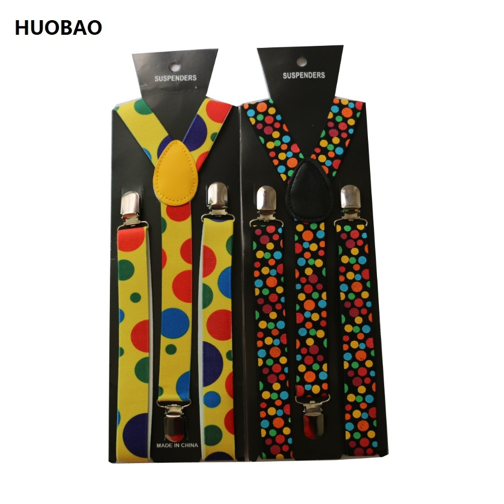 HUOBAO 2019 New 2.5cm Wide Adjustable Clip On Yellow Rainbow Polka Dot Suspenders For Party Festival