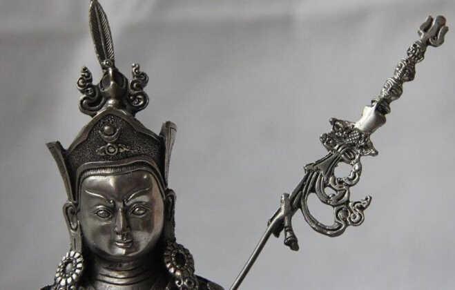 WBY 818 + + Тибет Буддизм белый Медь Серебряный Лотос падмасамбхава мастер монах статуя Будды