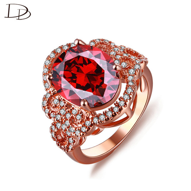 Vintage red crystal rings for women 585 rose gold color AAA rhinestone engagement ring fashion jewelry bague anel female DD241