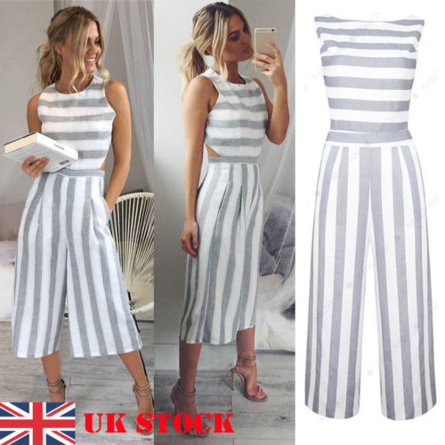 2018 New Fashion Hot Popular Summer Women's Strap Vertical Striped   Jumpsuit   Sleeveless Backless Long   Jumpsuit
