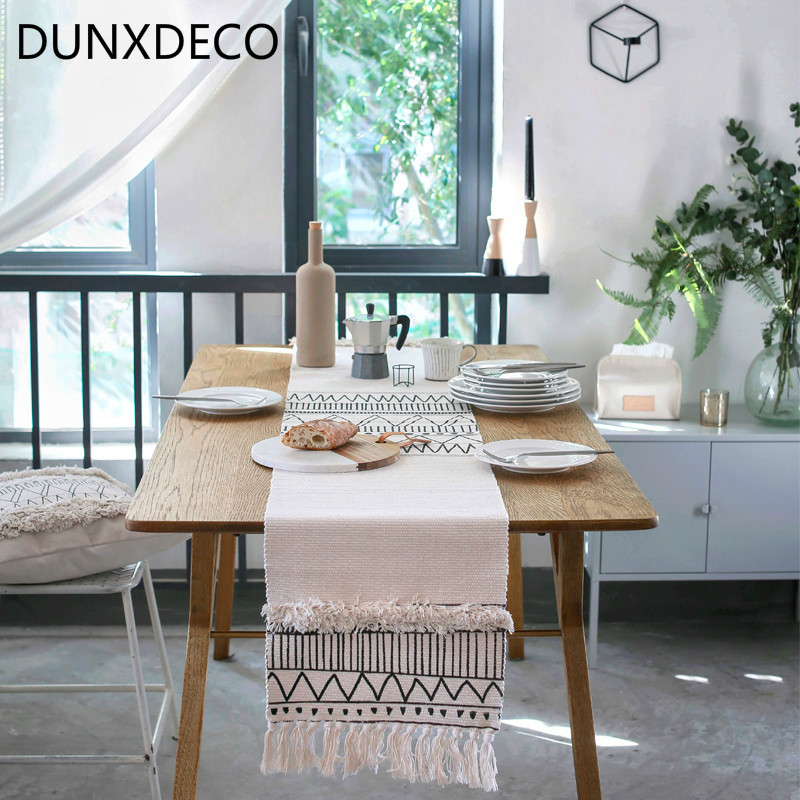 DUNXDECO Table Runner Tablecloth Cover Fabric Nordic Geometric White Black Lines Tassels Modern Home Office Store