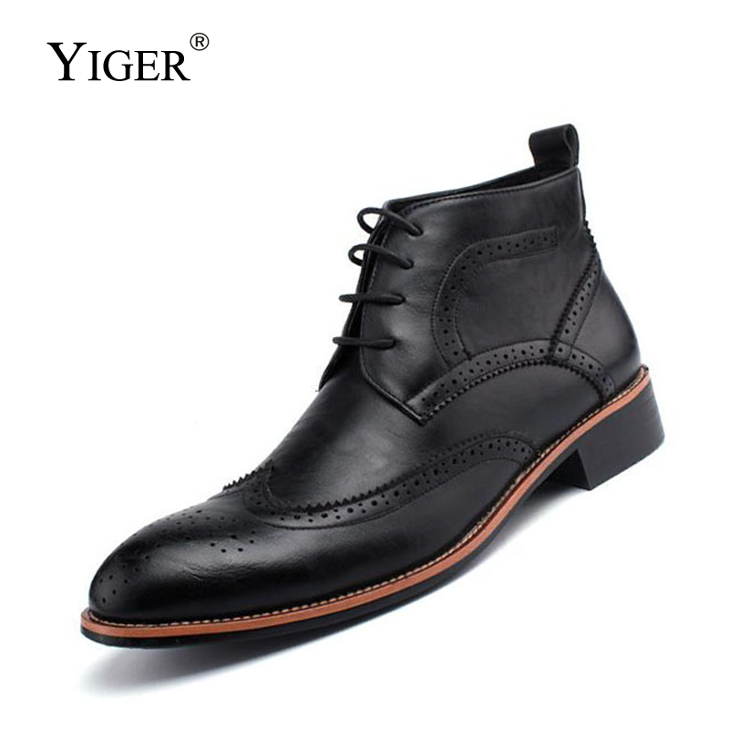 YIGER NEW Men Bullock Boots Genuine Leather Casual Male Shoes Ankle Botas Cowboy Motorcycle Oxford Winter