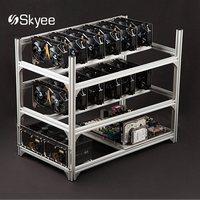 S SKYEE Aluminum 12 GPU Open Air Mining Rig Frame Case With USB Switch 10 Fans
