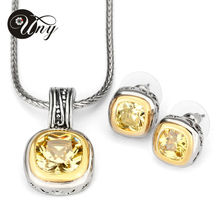 UNY Jewelry Free Shipping Elegant Wedding Jewelry Sets with CZ Earrings Necklace Set For send his