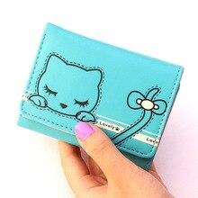 Trifold hasp wallet women's short purse lovely bowknot zero wallet cartoon cat lady girl wallet card holder femininos carteira