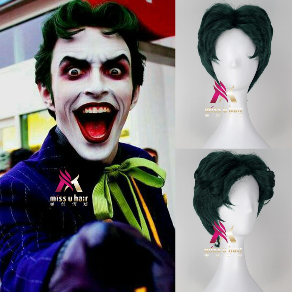 Movie Suicide Squad Joker Clown Green wig Play Poseidon Hair DC Comic Cosplay Halloween Costume Synthetic Refractory Fiber Wigs