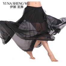 New arrivals women belly dance skirt chiffon belly dancing practice skirt