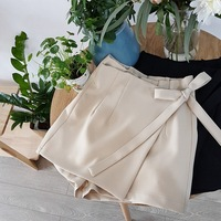 High Waist Hemp Blended Shorts Skirts Women Cotton Black Beige Shorts Feminino Bow Tie Bandage Chiffon
