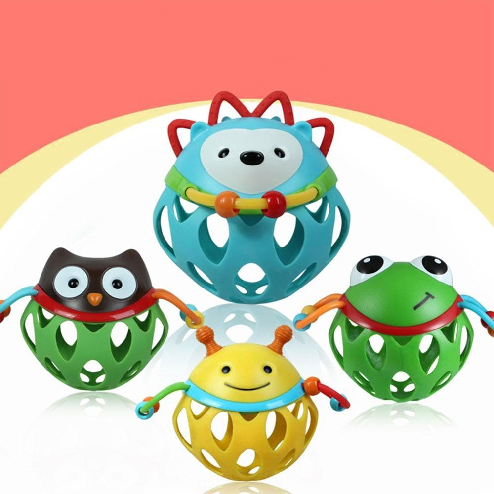 LeadingStar Baby Soft Rubber Hollow Rattle Cartoon Animal Teether Ball Educational Toy Gift For Boys And Girls