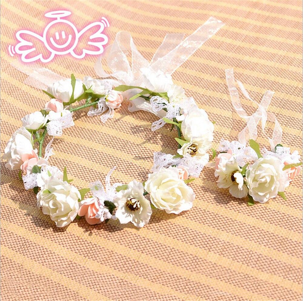 Brides Bridesmaids Wrist Flowersgarland Wedding Rose Bouquet