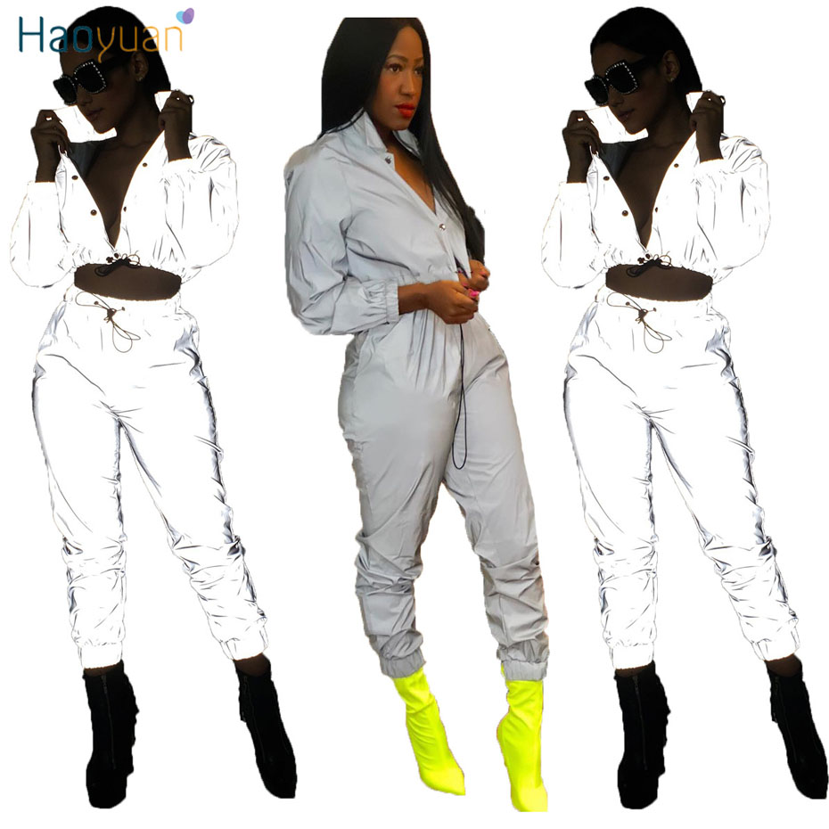 60a039d7ac78 HAOYUAN Reflective Tracksuit Sexy Two Piece Set Top and Pants Sweat Suits  Fluorescent Clothing 2 Piece Club Outfits for Women-in Women's Sets from  Women's ...