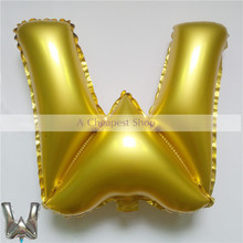"1pcs 16"" Silver/Gold Alphabet "" W "" foil  Balloons New Year Birthday party Wedding Decoration love Ballon"